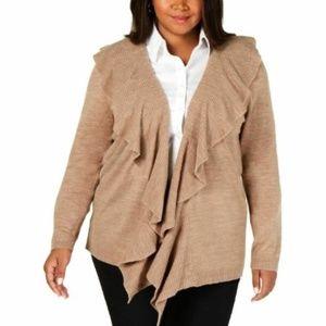 NWT Karen Scott XL Ruffle Cardigan Open Sweater